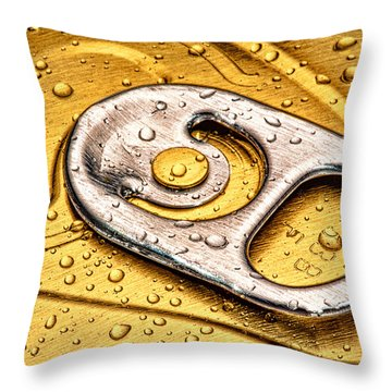 Beer Can Pull Tab Throw Pillow by Tom Mc Nemar