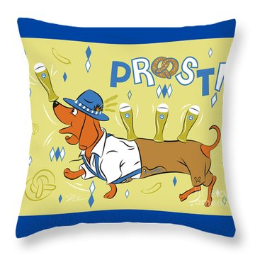 Beer Dachshund Dog Throw Pillow