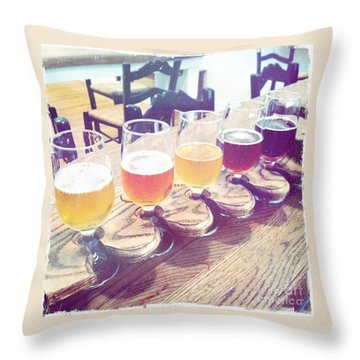 Beer Flight Throw Pillow by Nina Prommer