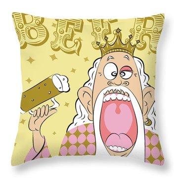 Beer King Throw Pillow
