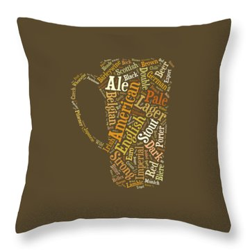 Throw Pillow featuring the digital art Beer Lovers Tee by Edward Fielding