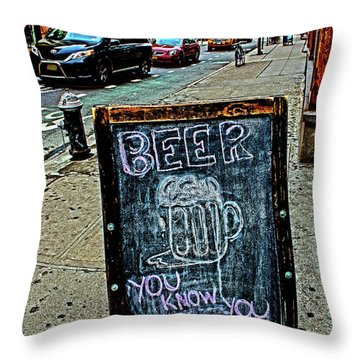 Beer Sign Throw Pillow by Sandy Moulder