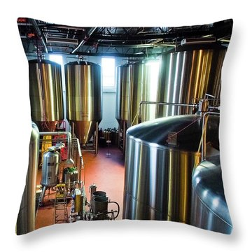 Throw Pillow featuring the photograph Beer Vats by Linda Unger