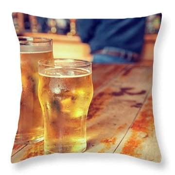 Throw Pillow featuring the photograph Beers In A Pub by Patricia Hofmeester