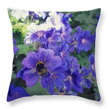 Bees And Flowers Throw Pillow