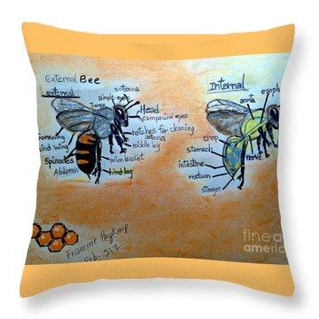 Bees  Throw Pillow by Francine Heykoop
