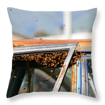 Bees In A Chevy Throw Pillow