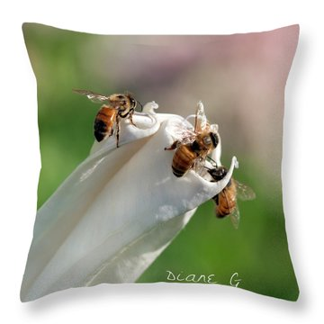 Bees On Angel Trumpet Throw Pillow