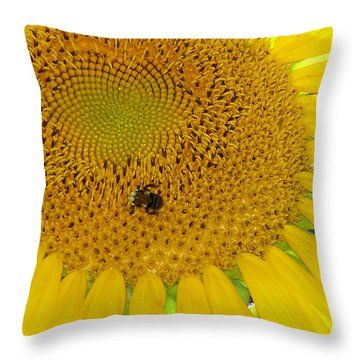 Throw Pillow featuring the photograph Bees Share A Sunflower by Sandi OReilly