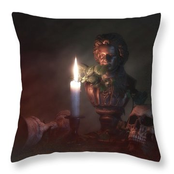 Beethoven By Candlelight Throw Pillow by Tom Mc Nemar