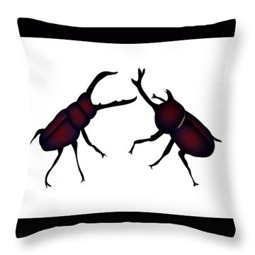 Beetle And Stag Beetle Throw Pillow