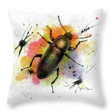 Throw Pillow featuring the drawing Beetle Illustration by John Dyess