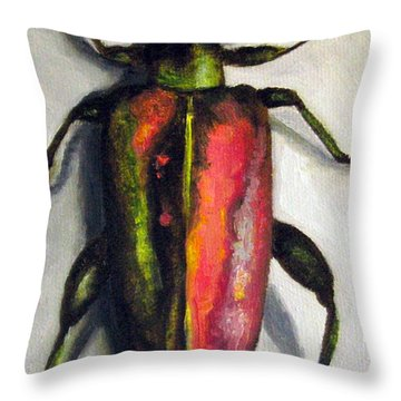 Beetle Throw Pillow by Leah Saulnier The Painting Maniac