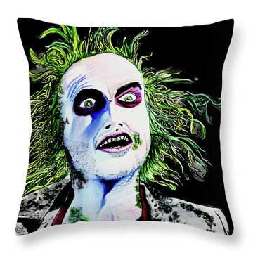Throw Pillow featuring the painting Beetlejuice by eVol i