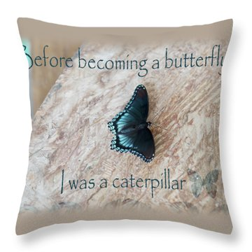 Before Becoming A Butterfly  Throw Pillow