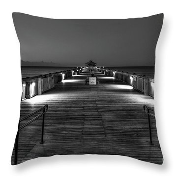 Throw Pillow featuring the photograph Before Dawn Folly Beach Pier Charleston Sc Art by Reid Callaway