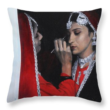 Before The Dance At The National Eisteddfod Throw Pillow