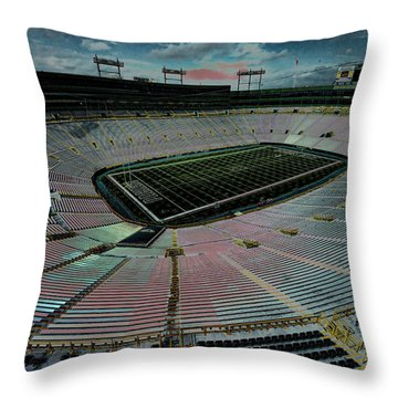 Before The Game At Lambeau Throw Pillow by Lawrence Christopher