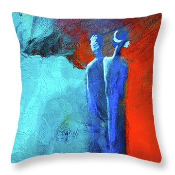 Throw Pillow featuring the painting Before The Wedding by Nancy Merkle