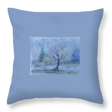 Throw Pillow featuring the painting Begining Of Another Winter by Anna  Duyunova