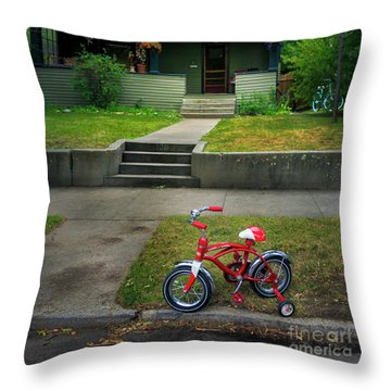 Throw Pillow featuring the photograph Beginners Bicycle by Craig J Satterlee
