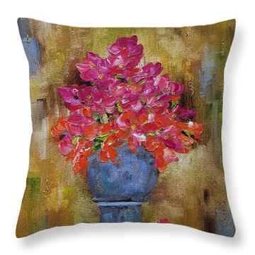 Throw Pillow featuring the painting Begonia Justice by Judith Rhue