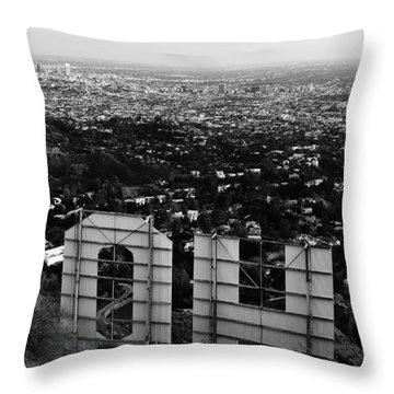 Behind Hollywood Bw Throw Pillow