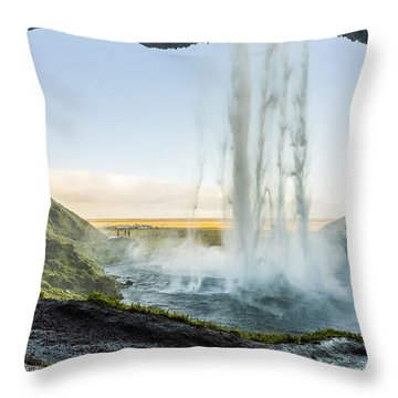 Throw Pillow featuring the photograph Behind Seljalandsfoss by James Billings