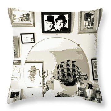 Throw Pillow featuring the photograph Behind The Barber Chair by Joe Jake Pratt