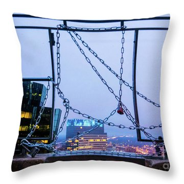 City Behind The Chains Throw Pillow