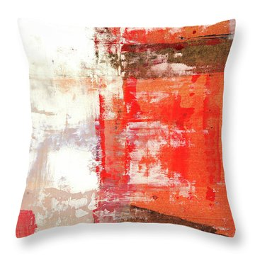 Behind The Corner - Warm Linear Abstract Painting Throw Pillow