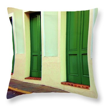 Behind The Green Doors Throw Pillow by Debbi Granruth
