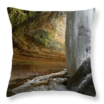 Throw Pillow featuring the photograph Behind The Ice Falls by SimplyCMB