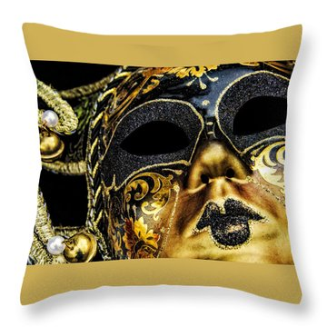 Behind The Mask Throw Pillow by Carolyn Marshall