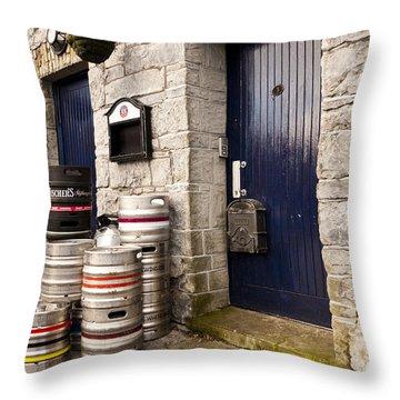 Behind The Pub Throw Pillow by Rae Tucker