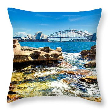 Behind The Rocks Throw Pillow by Az Jackson