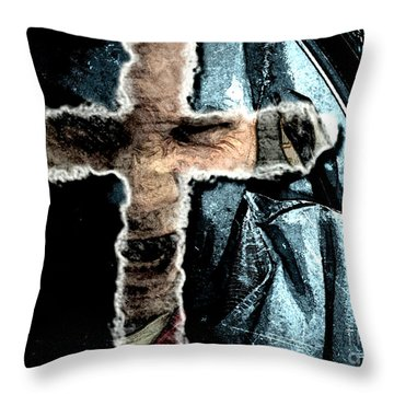 Throw Pillow featuring the mixed media Behind The Thin Veil Of The Cross by Reed Novotny