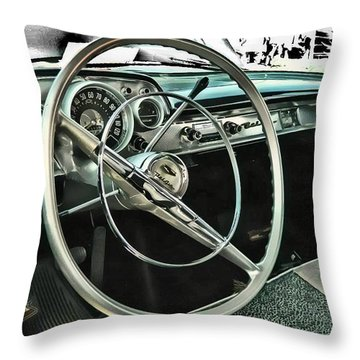 Behind The Wheel Throw Pillow by Victor Montgomery