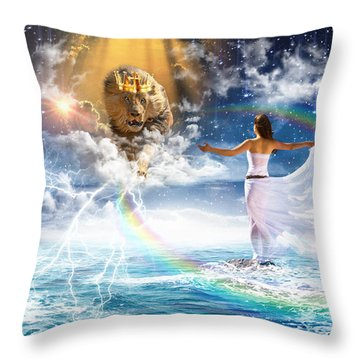 Behold, He Is Coming  Throw Pillow by Dolores Develde