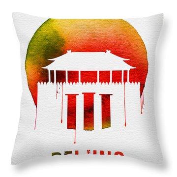 Beijing Landmark Red Throw Pillow