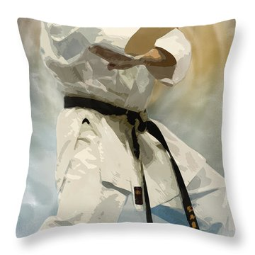 Being A Black Belt Throw Pillow by Deborah Lee