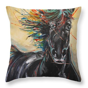 Being Hue Mane Throw Pillow