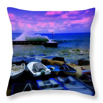 Beirut Seaside Waves Throw Pillow