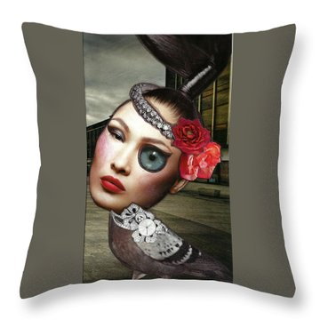 Throw Pillow featuring the mixed media Mixed Media Collage Bejeweled Pigeon Lady by Lisa Noneman