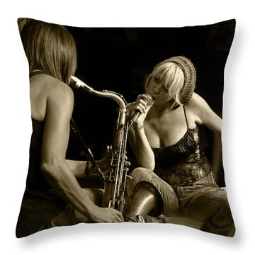 Bekka And Deanne Throw Pillow by Jim Mathis