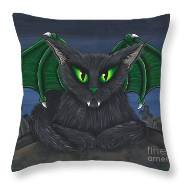 Throw Pillow featuring the painting Bela Vampire Cat by Carrie Hawks
