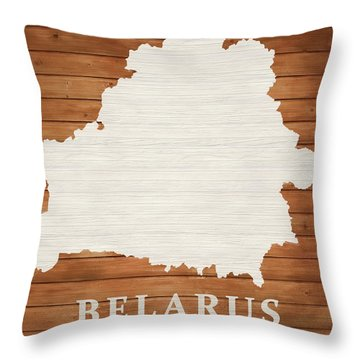 Belarus Rustic Map On Wood Throw Pillow