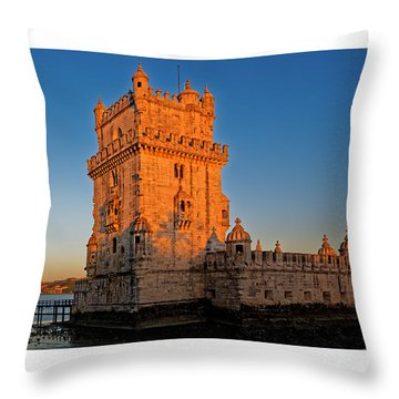Belem Tower And The Moon Throw Pillow