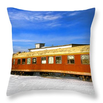 Throw Pillow featuring the photograph Belfast And Moosehead Railroad Cars In Winter by Olivier Le Queinec