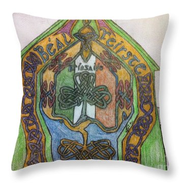 Belfast Mural Throw Pillow by Brett Genda